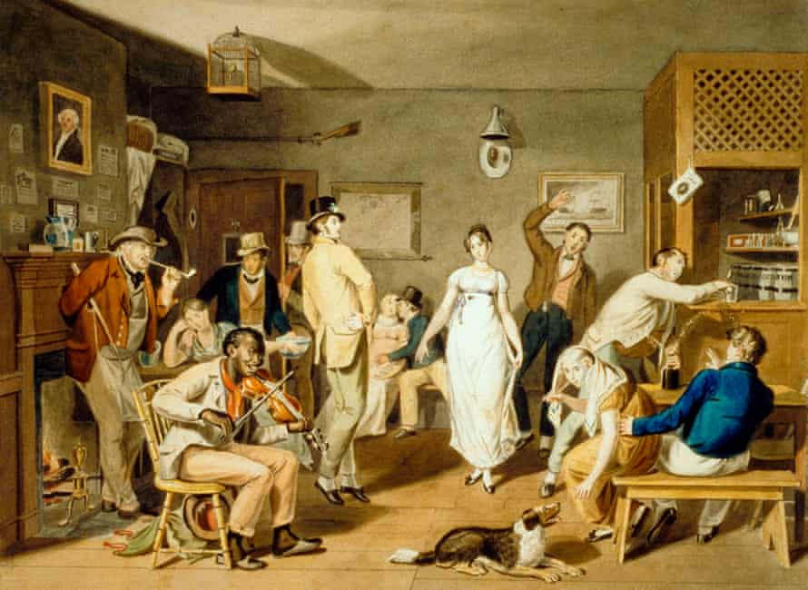 Customers drinking, dancing and smoking in a country tavern in early 19th-century America.