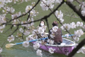 Tokyo, JapanPeople wearing face masks to help protect against the spread of the coronavirus enjoy blooming cherry blossoms from paddle boats