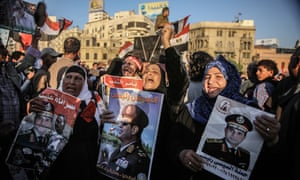 Protesters in Cairo call on Abdel Fattah el Sisi to run for president, March 2014.