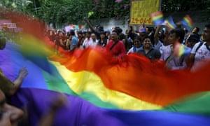 Activists celebrate a pride march in New Delhi in 2008.