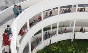 Students standing on walkways at university, elevated view Granada, Spain