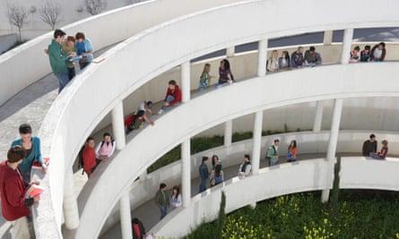 Students standing on walkways at university, elevated view Granada, Spain