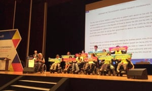 Activists from SADD on stage before the closing ceremony of the conference.