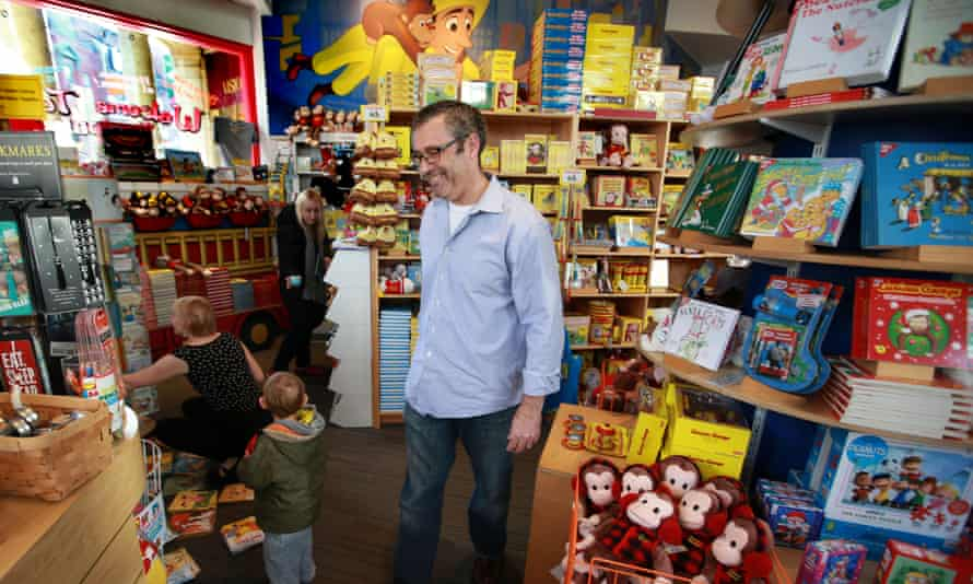 Curious George Store owner Adam Hirsch at the store in Harvard Square in Cambridge, Mass.