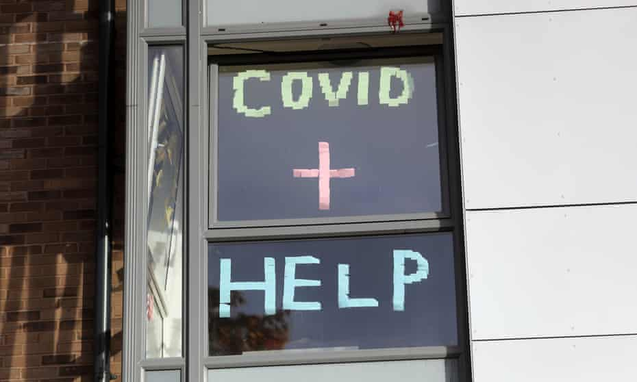 A sign in the window of the student accommodation at Nottingham Trent University in Nottingham.