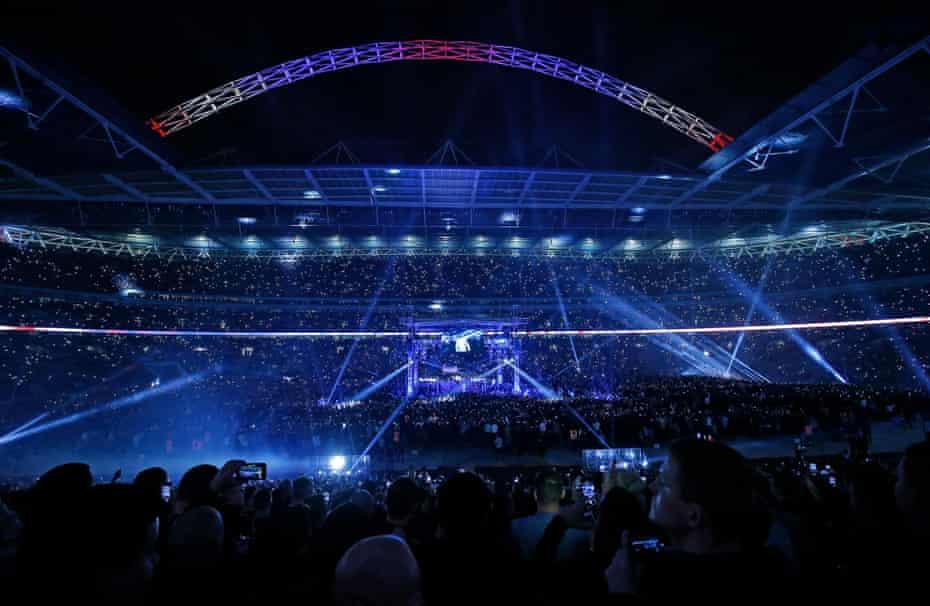 The scene as Anthony Joshua makes his ring-walk before the Anthony Joshua v Wladimir Klitschko World Heavyweight unification title fight at Wembley Stadium.
