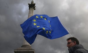 A protester waves an EU flag in Trafalgar Square, central London, in September.