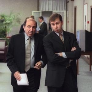 Boris Berezovsky and Roman Abramovich in the State Duma in Moscow, June 2000.