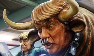 A paper mache Donald Trump bull