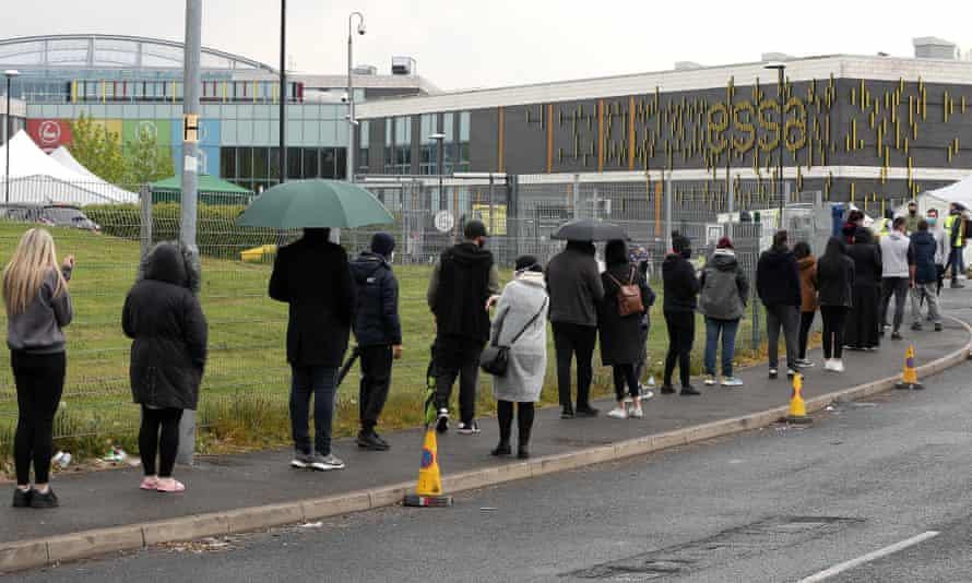 People queueing to get vaccinated on Saturday in Bolton, one of the areas with high case numbers linked to the B.1.617.2 Covid variant first detected in India.