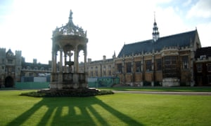 The fountain of the great court of Trinity college at the university of Cambridge.