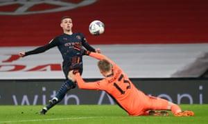 Phil Foden scores Manchester City's third goal.