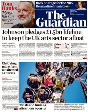 Guardian front page, Monday 6 July 2020