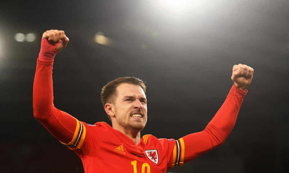 Aaron Ramsey celebrates after scoring the goals against Hungary that sealed Wales's place at Euro 2020.