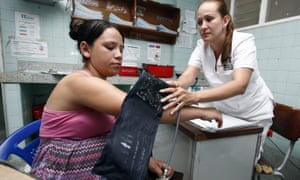 A pregnant woman undergoes a medical examination at a hopsital in Cucuta, Colombia.