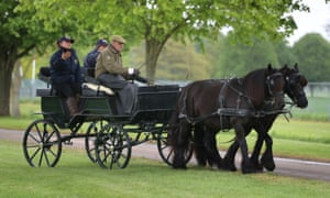 The Duke of Edinburgh riding in the carriage during the Royal Windsor horse show in 2019