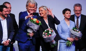 Geert Wilders takes a selfie with Marine Le Pen