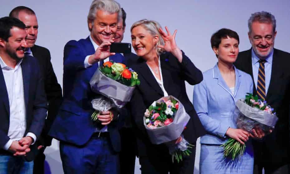 Geert Wilders takes a selfie with Marine Le Pen