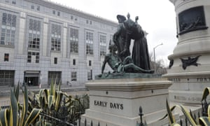 The Early Days statue depicts a Native American at the feet of a Spanish cowboy and Catholic missionary in San Francisco.