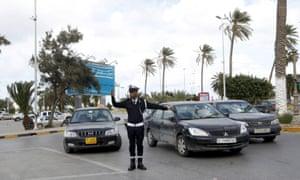 A policeman in Tripoli, Libya