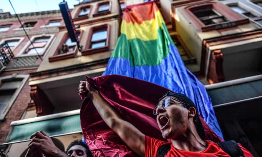 LGBT rights activists shout slogans at an Istanbul march in Turkey.