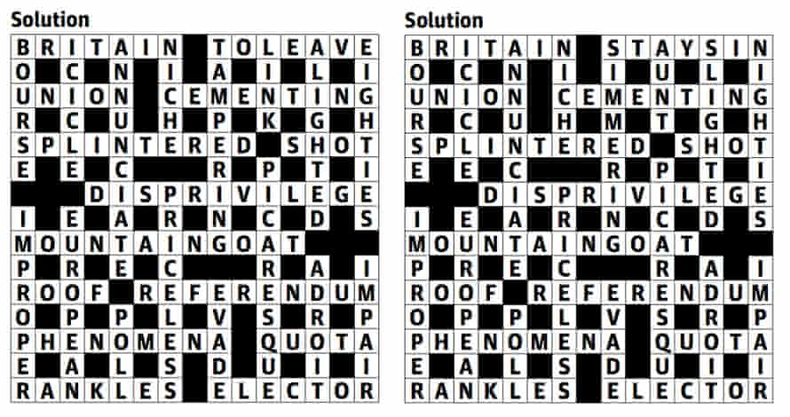 The solutions to Boatman's referendum cryptic crossword