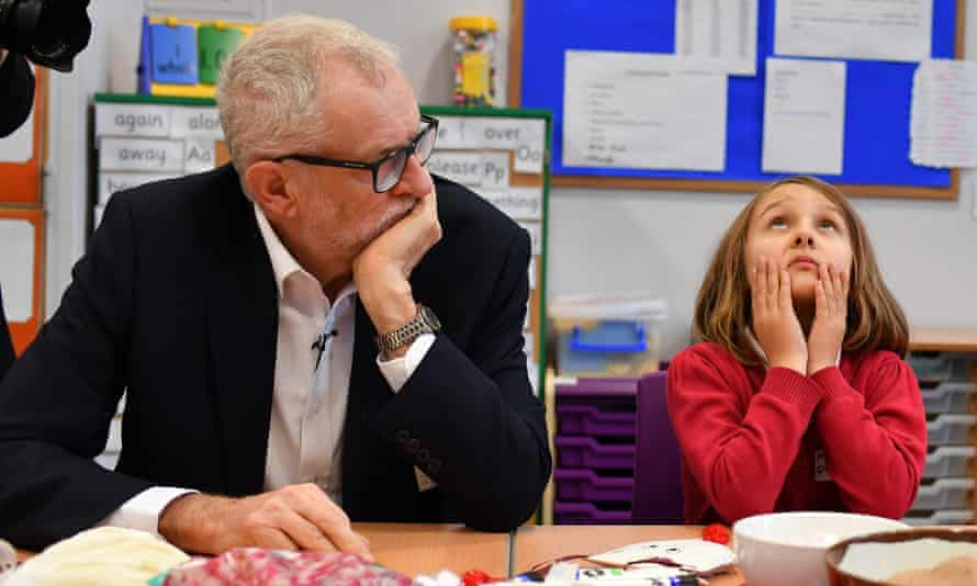 Jeremy Corbyn on a visit to Sandylands Community Primary school in Morceambe, Lancashire.