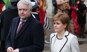 Carwyn Jones and Nicola Sturgeon at Monday's Commonwealth Day service at Westminster Abbey.