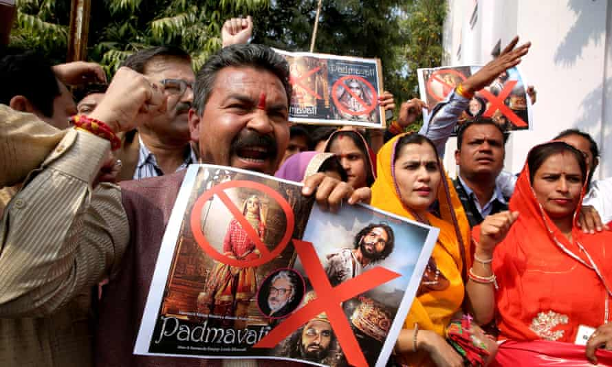 Members of the Indian Rajput community hold placards during a protest against the release of the Bollywood movie Padmaavat in Bhopal
