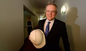Scott Morrison with a hardhat