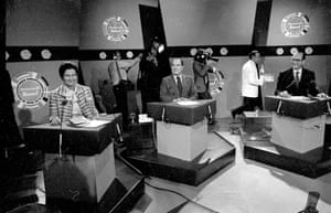 (From left) Simone Veil, François Mitterrand and Chirac during a TV debate in 1979