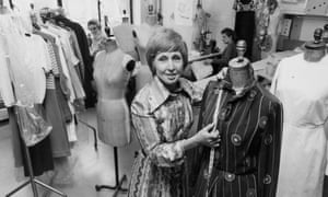 Maureen Baker in the workshop of the Susan Small fashion house in London.