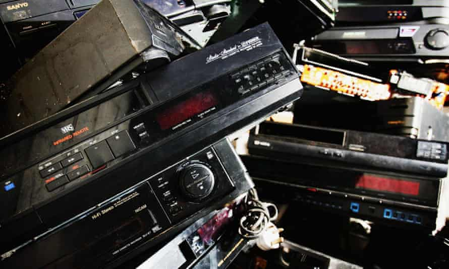 Pile of old video recorders