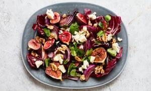 Thomasina Miers' roast onion, fig, blue cheese and walnut salad.