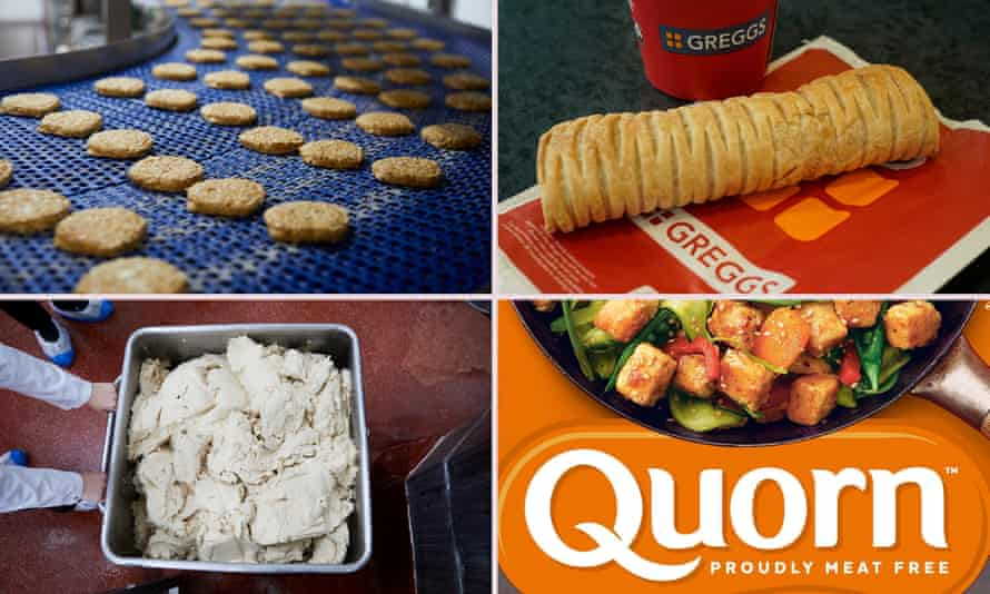 Clockwise from top left: Quorn burgers on a conveyor belt at Stokesley, a Greggs vegan sausage roll, Quorn packaging and the mycoprotein for the products.
