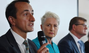 Wentworth byelection candidates (left to right): Dave Sharma (Liberal), Kerryn Phelps (Independent) and Tim Murray (Labor) at a community forum