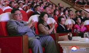 Kim Kyong-hui, second from right, attends a concert celebrating Lunar New Year's Day with Kim Jong-un in Pyongyang, North Korea.