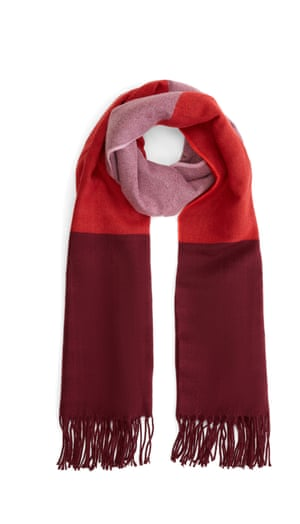 "Try new thingsScarlet, pink and claret make for such a cosy colour palette - who knew? This block-colour scarf will jazz up your winter coat quicker than you can say ""brrrr"". Scarf, Warehouse.com, £22."