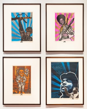 Installation photo of Emory Douglas's posters.