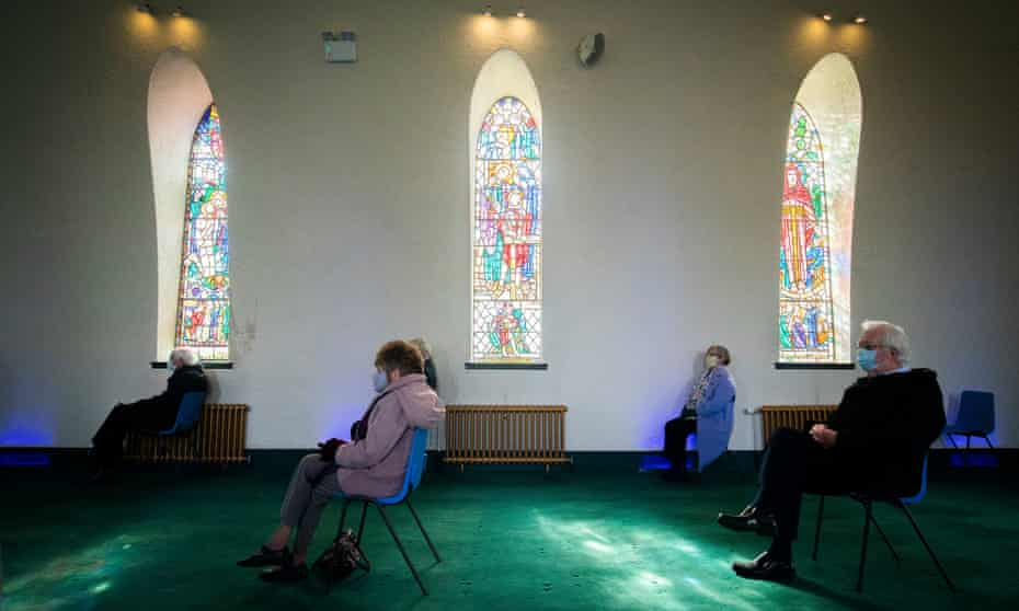 Members of the congregation at an Easter Sunday service at Fairmilehead parish church, Edinburgh