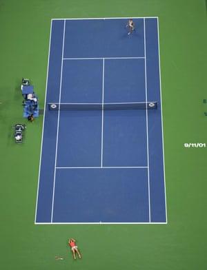 Angelique Kerber, bottom, celebrates after defeating Karolina Pliskova.