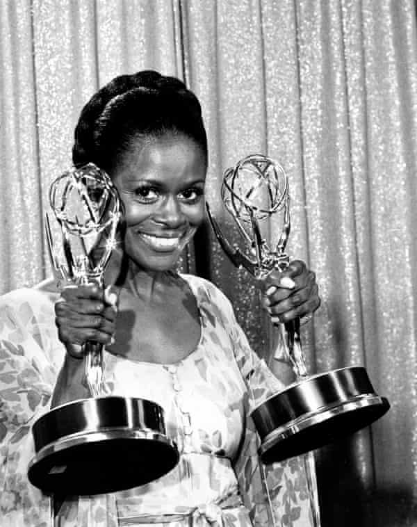 Cicely Tyson with her Emmy awards for the TV movie The Autobiography of Miss Jane Pittman, 1974.