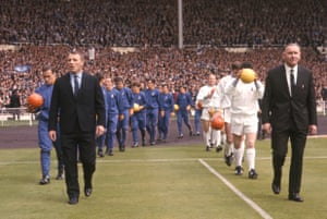 Docherty leads Chelsea out at Wembley in 1967.