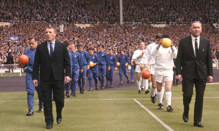 Tommy Docherty leads his Chelsea team out to face Bill Nicholson's Tottenham in the 1967 FA Cup final