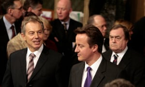 Tony Blair and David Cameron during The State Opening of Parliament.