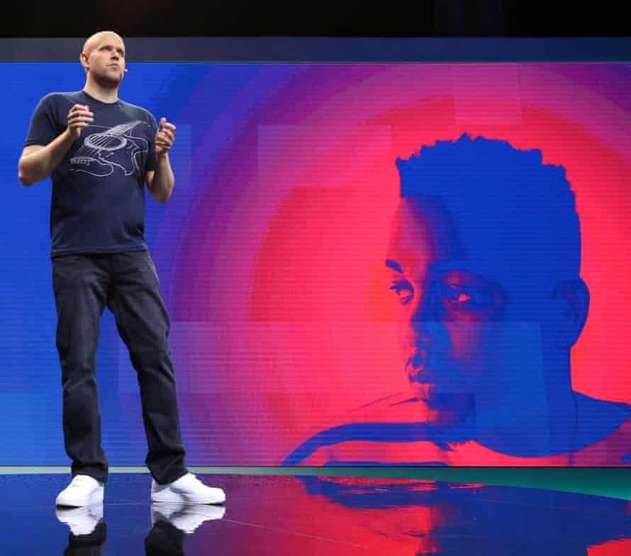 Spotify's Daniel Ek speaks during the Spotify New Platform Launch at S.I.R. Studios in New York City.