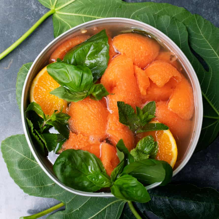Cantaloupe with basil and mint.
