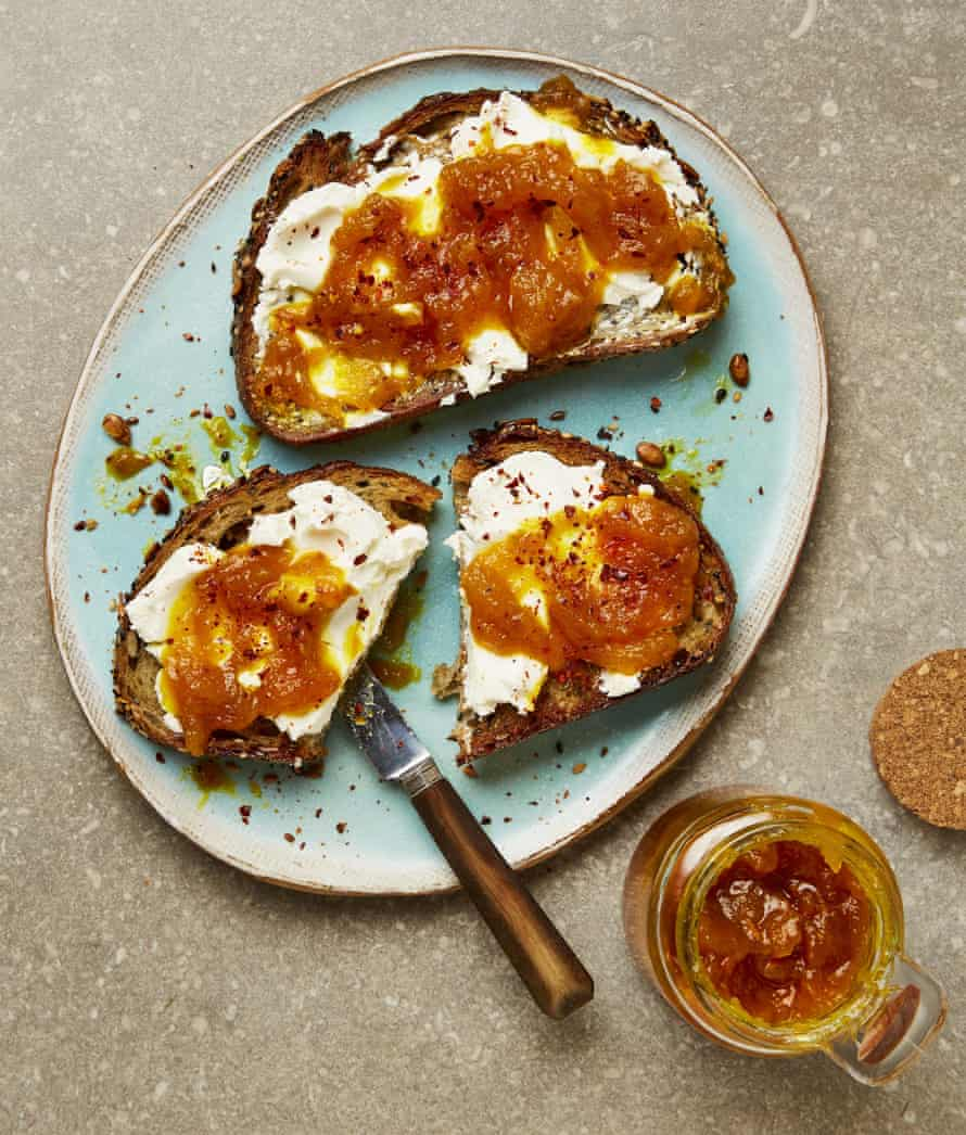 Yotam Ottolenghi's yellow tomato jam with turmeric (on goat's cheese toasts).