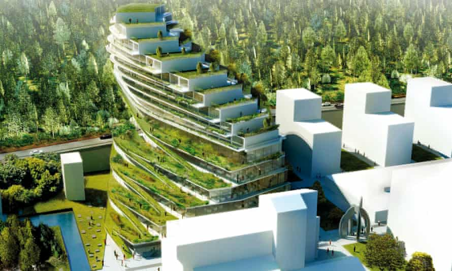 Architecture firm 3XN's design for a residential school in Stockholm includes hanging gardens, green terraces and vertical farming on the exterior.