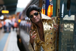 Elvis tribute artist Alfred Kaz, also known as 'Bollywood Elvis', poses